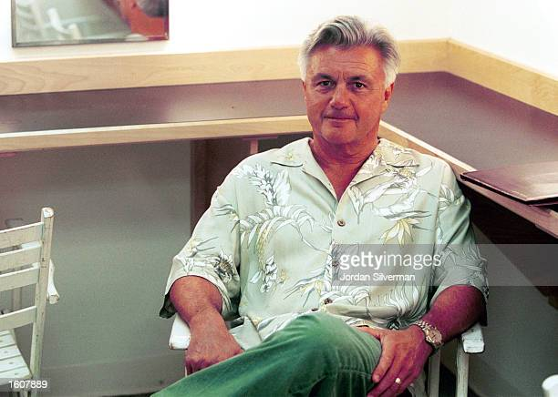 Author John Irving sits in his dressing room before giving a private reading for guests of Planned Parenthood of Northern New England August 7 2001...