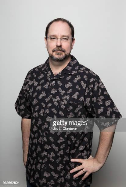 Author John Scalzi is photographed for Los Angeles Times on April 21 2018 in the LA Times Studio at the Los Angeles Times Festival of Books at the...