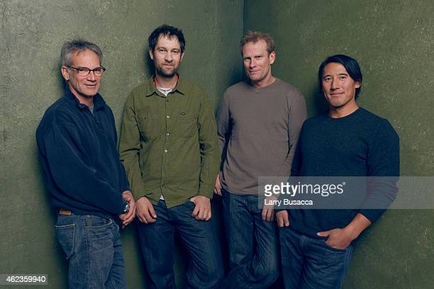 Author Jon Krakauer climber Renan Ozturk climber Conrad Anker and director Jimmy Chin of Meru pose for a portrait at the Village at the Lift...