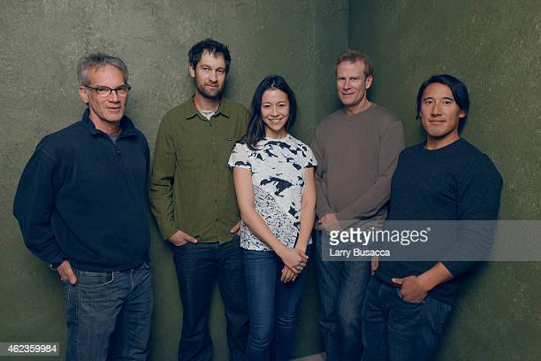 Author Jon Krakauer climber Renan Ozturk director Elizabeth Chai Vasarhelyi climber Conrad Anker and director Jimmy Chin of Meru pose for a portrait...