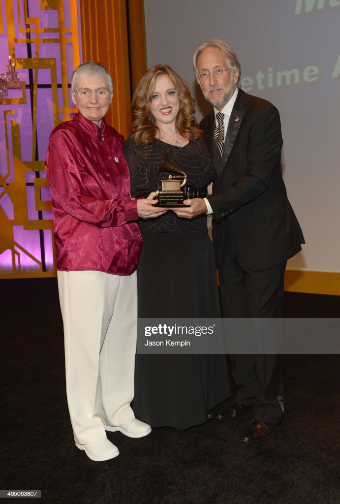 Author Karen A. Shaffer, violinist Rachel Barton Pine and The Recording Academy president/CEO Neil Portnow onstage at the Special Merit Awards Ceremony as part of the 56th GRAMMY Awards on January 25, 2014 in Los Angeles, California.