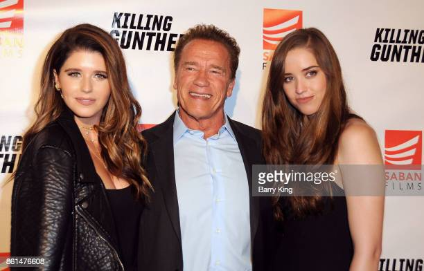 Author Katherine Schwarzenegger actor Arnold Schwarzenegger and Christina Schwarzenegger attend the premiere of Saban Films' 'Killing Gunther' at TCL...