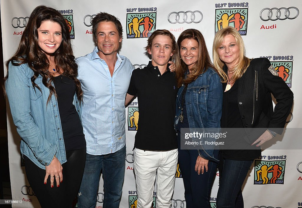 Author Katherine Schwarzenegger, actor Rob Lowe, John Owen Lowe, author Maria Shriver and Sheryl Berkoff attend the Best Buddies' Bowling For Buddies Event at Lucky Strike Lanes at L.A. Live on April 21, 2013 in Los Angeles, California.