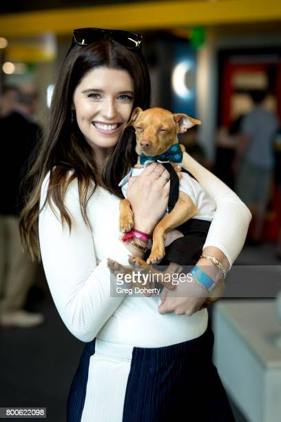 Author Katherine Schwarzenegger poses for a picture with dog Tuna at the Grand Opening Celebration For The Wallis Annenberg PetSpace at the Wallis...