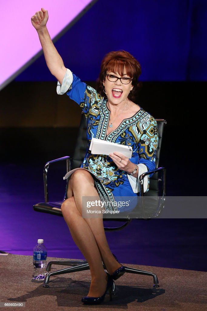 Author Kathy Lette speaks on stage at the 8th Annual Women In The World Summit at Lincoln Center for the Performing Arts on April 7, 2017 in New York City.