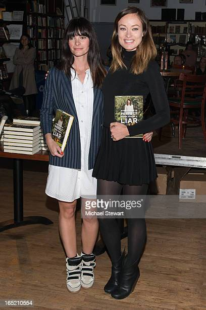 Author Kelly Oxford and actress Olivia Wilde attend Kelly Oxford Lies To Olivia Wilde at Housing Works Bookstore Cafe on April 1 2013 in New York City