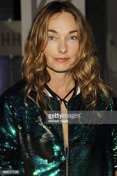 Author Kelly Wearstler poses for a picture on the front row at the Libertine fashion show during Spring 2016 New York Fashion Week The Shows at The...