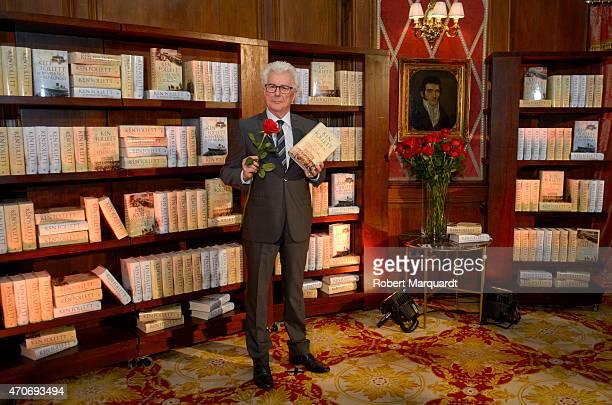 Author Ken Follett attends a press conference for Sant Jordi's Day on the eve of the festival on April 22, 2015 in Barcelona, Spain.