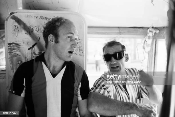 Author Ken Kesey and Beat legend Neal Cassady onboard the legendary Merry Pranksters' DayGlo Bus in June 1964 in New York City New York
