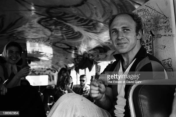 Author Ken Kesey and members of The Merry Pranksters onboard the legendary DayGlo Bus in June 1964 in New York City New York