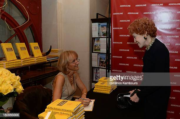 Author Ketty PucciSisti Maisonrouge greets a guest at ASSOULINE Martine and Prosper Assouline host a book signing for Ketty PucciSisti Maisonrouge's...