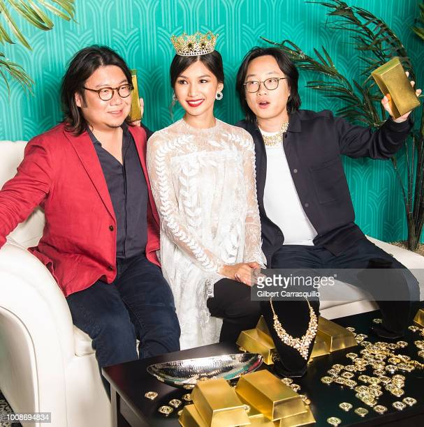 Author Kevin Kwan actors Gemma Chan and Jimmy O Yang attend the 'Crazy Rich Asians' Philadelphia screening at The Prince Theater on July 31 2018 in...