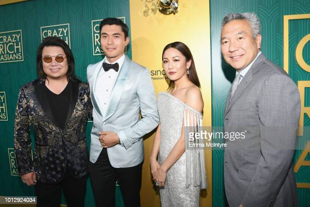 Author Kevin Kwan actors Henry Golding Constance Wu and Warner Bros Entertainment CEO Kevin Tsujihara arrive at Warner Bros Pictures' Crazy Rich...