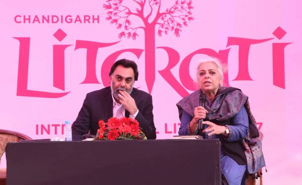 Author Khushwant Singh and Neel Kamal Puri during the session The Political and The Personal at Chandigarh Literati Festival 2017 at Lake Club on...