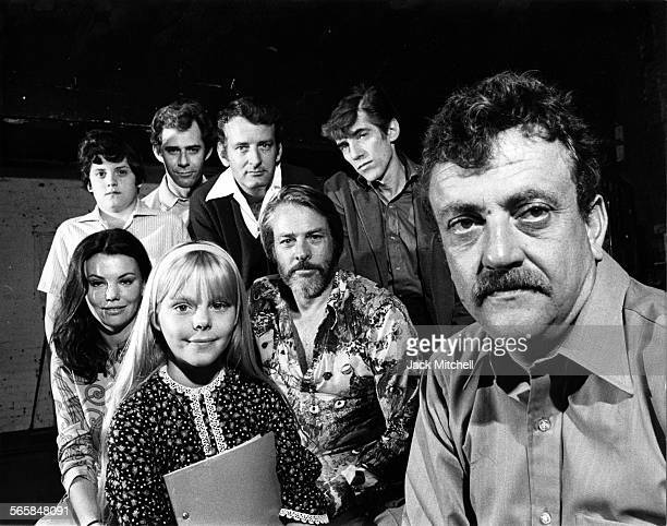 """Author Kurt Vonnegut Jr. With the cast of his play """"Happy Birthday, Wanda June"""" on Broadway, 1970. Photo by Jack Mitchell/Getty Images."""