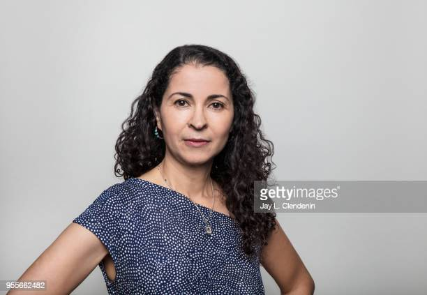 Author Laila Lalami is photographed for Los Angeles Times on April 21 2018 in the LA Times Studio at the Los Angeles Times Festival of Books at the...