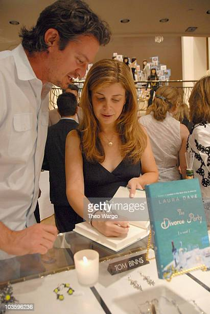 Author Laura Dave signs copies of her book at The Divorce Party book party at Henri Bendel on July 9 2008 in New York City