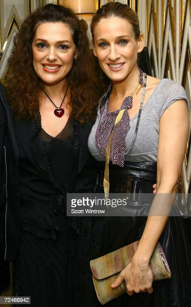 Author Laura Mercier and actress Sarah Jessica Parker arrive for the book launch party for Laura Mercier's The New Beauty Secrets Your Ultimate Guide...