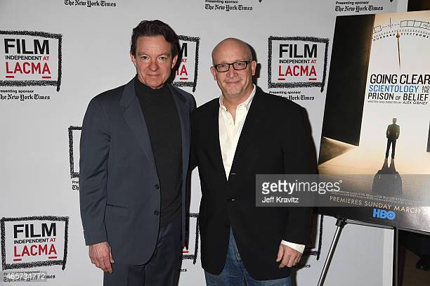 """Author Lawrence Wright and writer/director Alex Gibney attend Film Independent at LACMA screening and Q&A of HBO Documentary Films' """"Going Clear:..."""