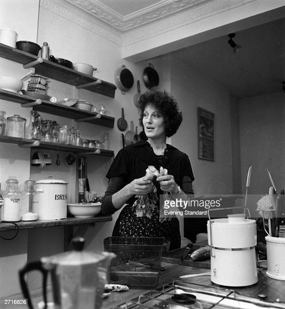 Author lecturer feminist and broadcaster Germaine Greer in the kitchen at her home She made her name originally as author of 'The Female Eunuch'