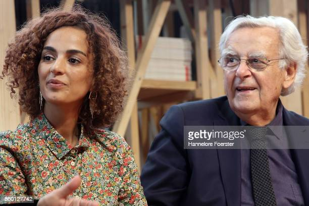 Author Leila Slimani and Bernard Pivot chairman of the 'Prix Goncourt' during the announcement of the Prix Goncourt shortlist at the 2017 Frankfurt...