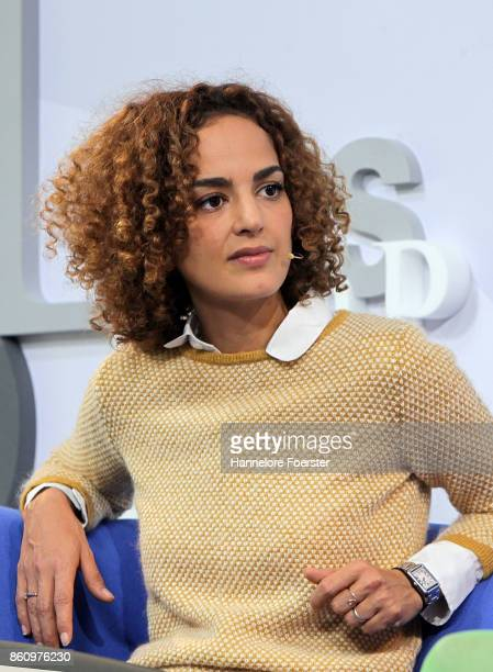 Author Leila Slimani during an interview at the Blue Sofa at the 2017 Frankfurt Book Fair on October 13 2017 in Frankfurt am Main Germany The 2017...