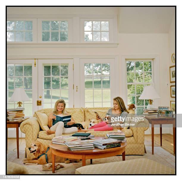 Author Lisa Scottoline and daughter/author Francesca Serritella pose for Ladies Home Journal Magazine on July 11, 2011 at home in Malvern,...