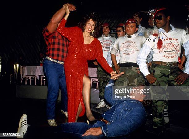 Author Lisa Sliwa and Guardian Angels at her book launch party circa 1986 in New York City