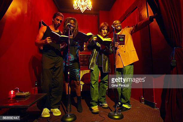 Author Lisa Teasley second from left is joined by actors Daniel Baxter left Kathleen Wilhoite and Joe Davis during a book reading at The Parlour Club...