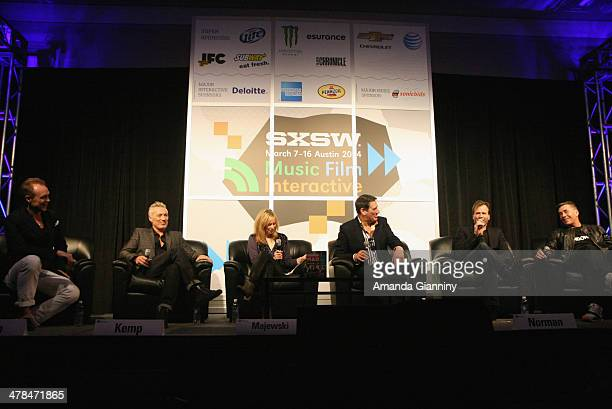 Author Lori Majewski and musicians Gary Kemp Martin Kemp Tony Hadley Steve Norman and John Keeble of Spandau Ballet speak onstage at SXSW Interview...