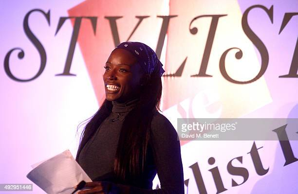 Author Lorraine Pascale speaks on stage during day two of Stylist Magazine's first ever 'Stylist Live' event at the Business Design Centre on October...