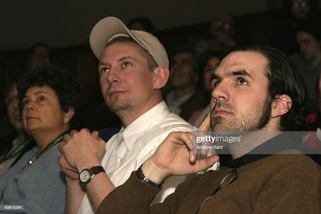 Author Lynne Elkin, Ian Hart and Paul Schneider listen at the Unraveling The Code: Rosalind Franklin and DNA panel during the 2004 Tribeca Film Festival May 8, 2004 in New York City.