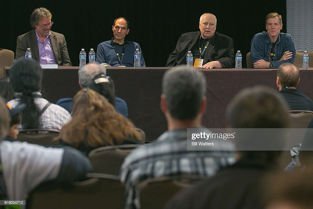 Author Marc Cushman, Producer Jon Jashni, Film and television director/producer Kevin Burns, and science fiction journalist Jeff Bond speaks at the Fantasy Worlds of Irwin Allen panel during Alien Con at the Santa Clara Convention Center on October 29, 2016 in Santa Clara, California.