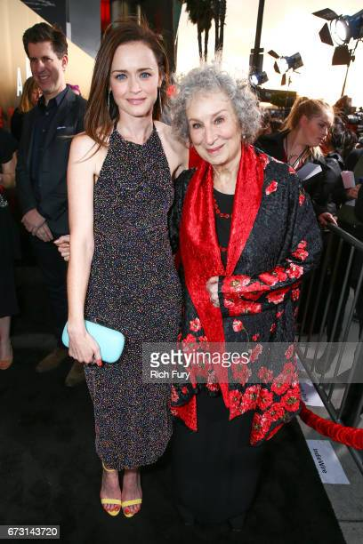 Author Margaret Atwood and actor Alexis Bledel attend the premiere of Hulu's 'The Handmaid's Tale' at ArcLight Cinemas Cinerama Dome on April 25 2017...