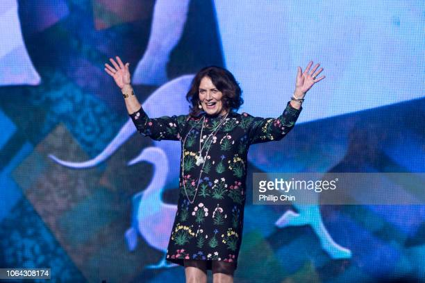 Author Margaret Trudeau speaks at WE Day Family Vancouver at Rogers Arena on November 21, 2018 in Vancouver, Canada.
