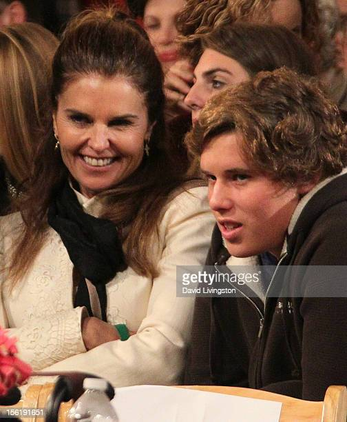 Author Maria Shriver and son Christopher Schwarzenegger attend the 10th Annual Hollywood Christmas Celebration at The Grove on November 11, 2012 in...