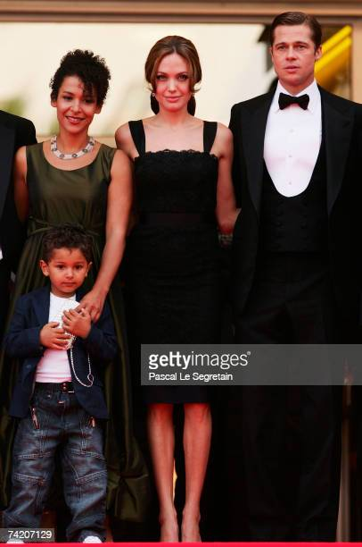 "Author Mariane Pearl, actors and producers Angelina Jolie and Brad Pitt attend the premiere for the film ""A Mighty Heart"" at the Palais des Festivals..."