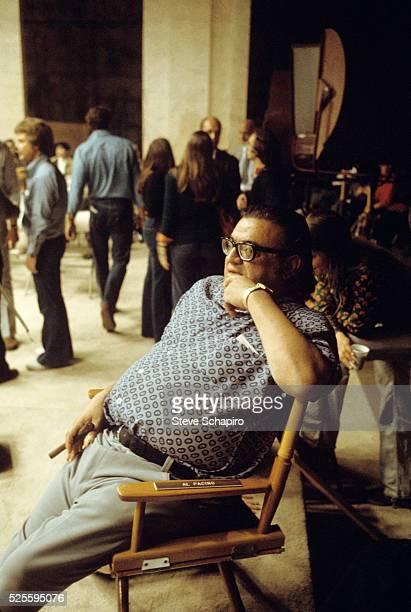Author Mario Puzo on the set of The Godfather