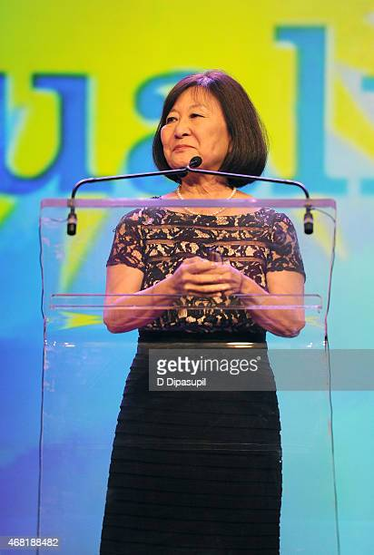 Author Marsha Aizumi speaks onstage at the 7th Annual PFLAG National Straight For Equality Awards Gala at The New York Marriott Marquis on March 30...
