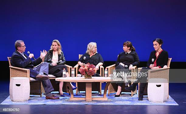 Author Marshall Fine interviews producer Faye Ward producer Alison Owen playwright Abi Morgan and director Sarah Gavron during 'Suffragette' post...