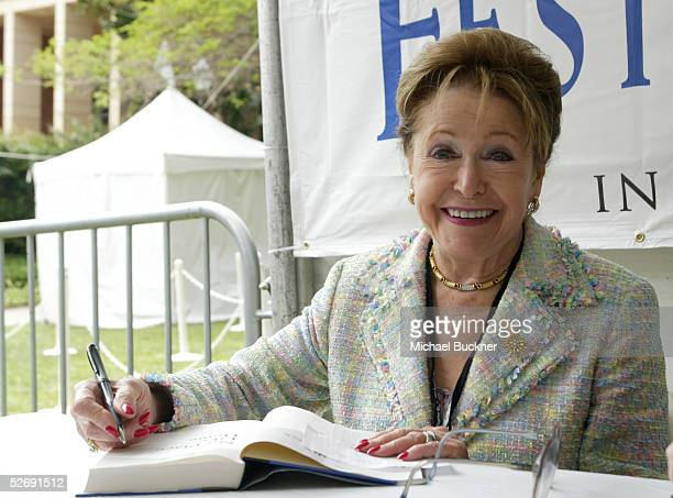Author Mary Higgins Clark signs copies of books and memorabilia at the 10th annual Los Angeles Times Festival of Books at UCLA on April 24 2005 in...