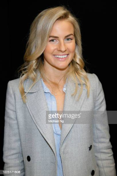 Author Matilda Rice poses backstage ahead of the Jockey show during New Zealand Fashion Week 2018 at Viaduct Events Centre on August 30 2018 in...
