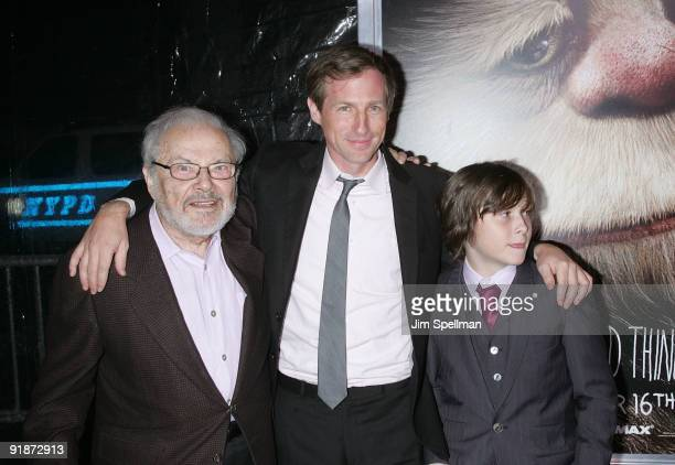 Author Maurice Sendak Director Spike Jonze and Actor Max Records attend the 'Where the Wild Things Are' premiere at Alice Tully Hall Lincoln Center...