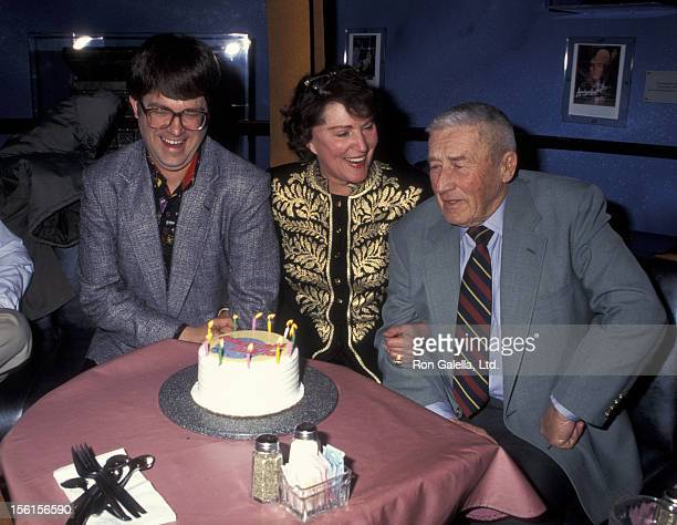 Author Max Allan Collins actress Majel BarrettRoddenberry and author Mickey Spillane attend the birthday party for SciFi Stars from Tekno Comix on...