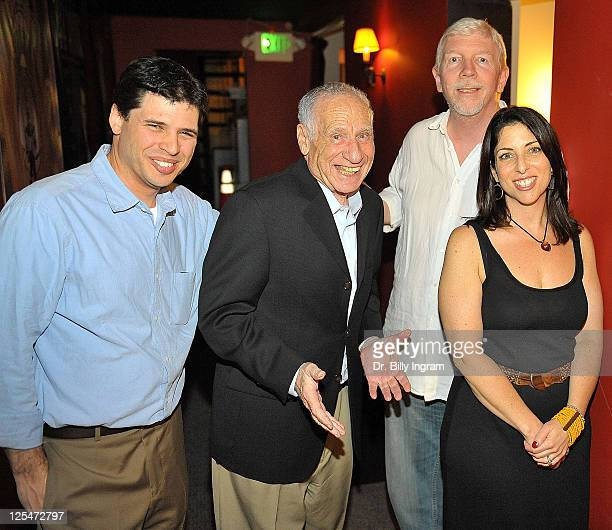 Author Max Brooks actor Mel Brooks Steve Julian and writer Michelle Kholos Brooks attend the after party for the Opening Night Premiere of the Play...