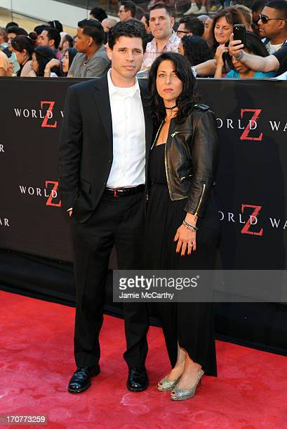 Author Max Brooks and Michelle Kholos Brooks attend the World War Z New York Premiere at Duffy Square in Times Square on June 17 2013 in New York City