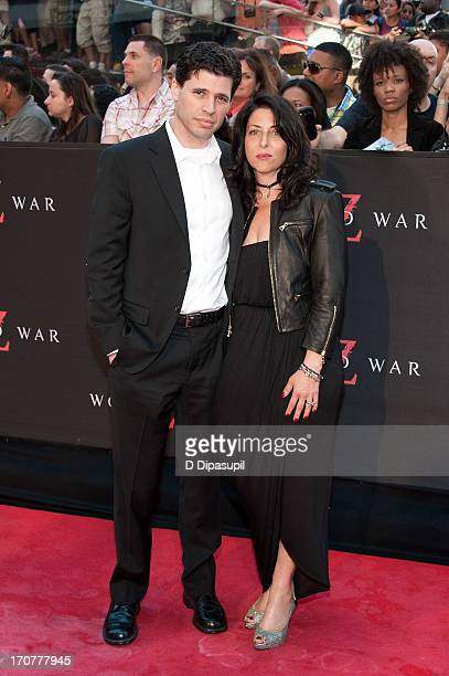 Author Max Brooks and wife Michelle Kholos Brooks attend the World War Z New York Premiere on June 17 2013 in New York City