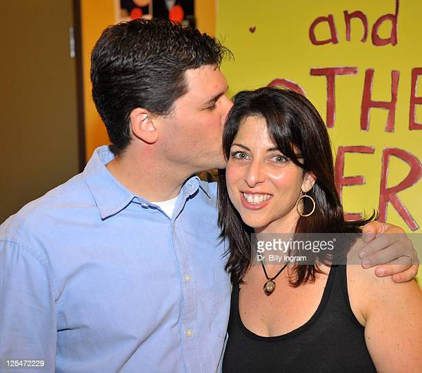 Author Max Brooks and writer Michelle Kholos Brooks arrive at Open Night Premiere of the Play Love And Other Allergies at the Lounge Theater on...