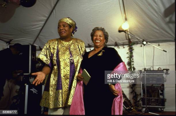 Author Maya Angelou with Nobel laureate Toni Morrison at party in honor of poet Rita Dove & Morrison, at Angelou's home; Winston-Salem.