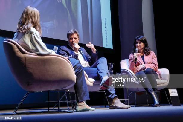 Author Meike Dinklage, German politician Robert Habeck and Brigitte magazine chief editor Brigitte Huber during the Brigitte Live conversation with...